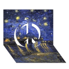Vincent Van Gogh Starry Night Over The Rhone Peace Sign 3d Greeting Card (7x5)  by MasterpiecesOfArt