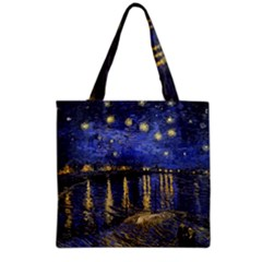 Vincent Van Gogh Starry Night Over The Rhone Grocery Tote Bags by MasterpiecesOfArt