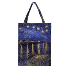 Vincent Van Gogh Starry Night Over The Rhone Classic Tote Bags by MasterpiecesOfArt