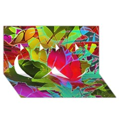 Floral Abstract 1 Twin Hearts 3d Greeting Card (8x4)  by MedusArt