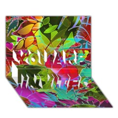 Floral Abstract 1 You Are Invited 3d Greeting Card (7x5)  by MedusArt