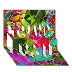 Floral Abstract 1 Thank You 3d Greeting Card (7x5)  by MedusArt