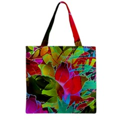 Floral Abstract 1 Grocery Tote Bags by MedusArt