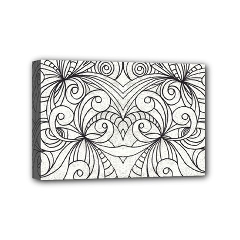 Drawing Floral Doodle 1 Mini Canvas 6  X 4  by MedusArt