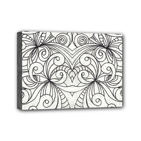 Drawing Floral Doodle 1 Mini Canvas 7  X 5  by MedusArt