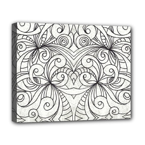 Drawing Floral Doodle 1 Deluxe Canvas 20  X 16   by MedusArt