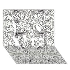 Drawing Floral Doodle 1 Love 3d Greeting Card (7x5)  by MedusArt