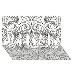 Drawing Floral Doodle 1 #1 Dad 3d Greeting Card (8x4)  by MedusArt