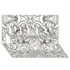 Drawing Floral Doodle 1 Merry Xmas 3d Greeting Card (8x4)