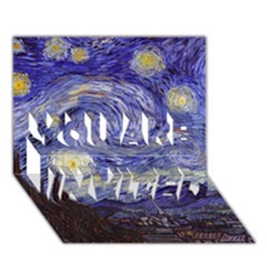 Van Gogh Starry Night You Are Invited 3d Greeting Card (7x5)