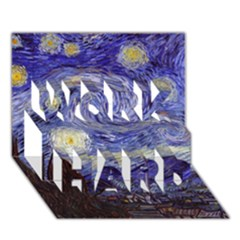 Van Gogh Starry Night Work Hard 3d Greeting Card (7x5)  by MasterpiecesOfArt
