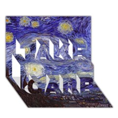 Van Gogh Starry Night Take Care 3d Greeting Card (7x5)  by MasterpiecesOfArt