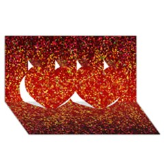 Glitter 3 Twin Hearts 3d Greeting Card (8x4)  by MedusArt