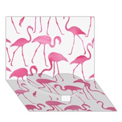 Pink Flamingos Pattern Heart Bottom 3D Greeting Card (7x5)  by Patterns