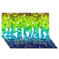 Glitter 4 #1 Dad 3d Greeting Card (8x4)