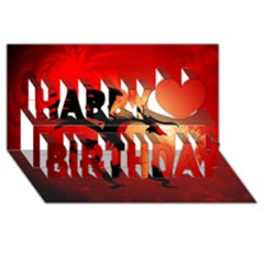 Funny, Cute Dragon With Fire Happy Birthday 3d Greeting Card (8x4)