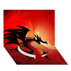 Funny, Cute Dragon With Fire Circle Bottom 3d Greeting Card (7x5)  by FantasyWorld7