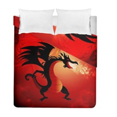 Funny, Cute Dragon With Fire Duvet Cover (twin Size)