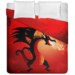 Funny, Cute Dragon With Fire Duvet Cover (Double Size) by FantasyWorld7