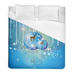 Wonderful Christmas Ball With Reindeer And Snowflakes Duvet Cover Single Side (Twin Size) by FantasyWorld7