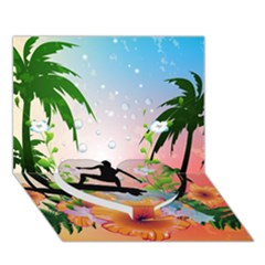 Tropical Design With Surfboarder Heart Bottom 3d Greeting Card (7x5)  by FantasyWorld7