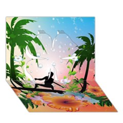 Tropical Design With Surfboarder Clover 3d Greeting Card (7x5)