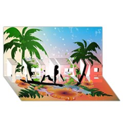 Tropical Design With Surfboarder Believe 3d Greeting Card (8x4)