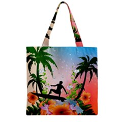 Tropical Design With Surfboarder Zipper Grocery Tote Bags by FantasyWorld7