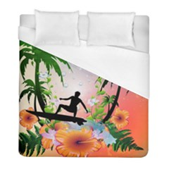 Tropical Design With Surfboarder Duvet Cover Single Side (twin Size) by FantasyWorld7