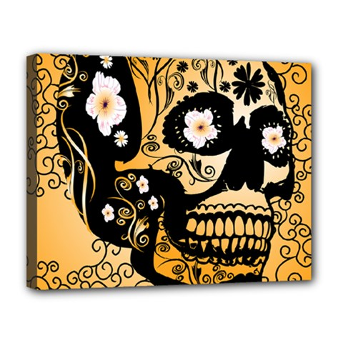Sugar Skull In Black And Yellow Canvas 14  X 11  by FantasyWorld7
