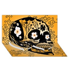 Sugar Skull In Black And Yellow Twin Heart Bottom 3d Greeting Card (8x4)