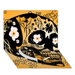 Sugar Skull In Black And Yellow Circle Bottom 3d Greeting Card (7x5)  by FantasyWorld7