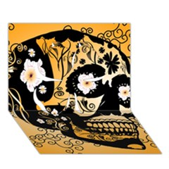 Sugar Skull In Black And Yellow Clover 3d Greeting Card (7x5)