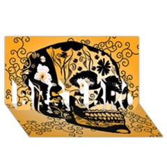 Sugar Skull In Black And Yellow Best Bro 3d Greeting Card (8x4)