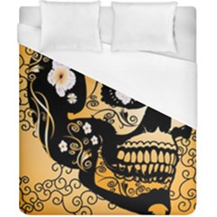 Sugar Skull In Black And Yellow Duvet Cover Single Side (Double Size) by FantasyWorld7