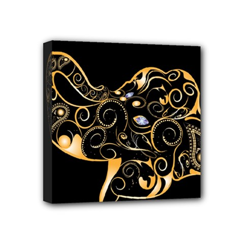 Beautiful Elephant Made Of Golden Floral Elements Mini Canvas 4  X 4  by FantasyWorld7