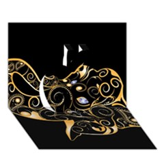 Beautiful Elephant Made Of Golden Floral Elements Apple 3d Greeting Card (7x5)