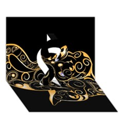 Beautiful Elephant Made Of Golden Floral Elements Ribbon 3d Greeting Card (7x5)  by FantasyWorld7