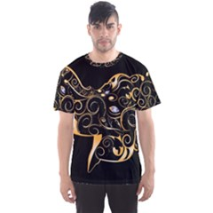 Beautiful Elephant Made Of Golden Floral Elements Men s Sport Mesh Tees by FantasyWorld7