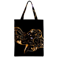 Beautiful Elephant Made Of Golden Floral Elements Zipper Classic Tote Bags by FantasyWorld7