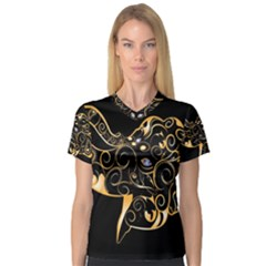 Beautiful Elephant Made Of Golden Floral Elements Women s V Neck Sport Mesh Tee