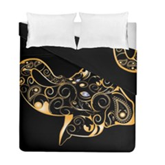 Beautiful Elephant Made Of Golden Floral Elements Duvet Cover (twin Size) by FantasyWorld7