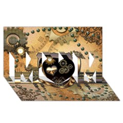 Steampunk, Shield With Hearts Mom 3d Greeting Card (8x4)