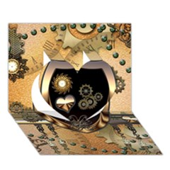 Steampunk, Shield With Hearts Heart 3d Greeting Card (7x5)