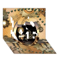 Steampunk, Shield With Hearts LOVE 3D Greeting Card (7x5)  by FantasyWorld7
