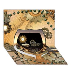 Steampunk, Shield With Hearts Heart Bottom 3d Greeting Card (7x5)