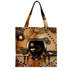 Steampunk, Shield With Hearts Zipper Grocery Tote Bags