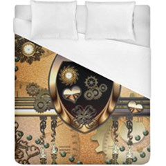 Steampunk, Shield With Hearts Duvet Cover Single Side (Double Size) by FantasyWorld7