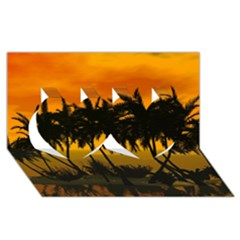Sunset Over The Beach Twin Hearts 3d Greeting Card (8x4)
