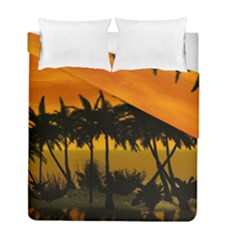 Sunset Over The Beach Duvet Cover (twin Size) by FantasyWorld7